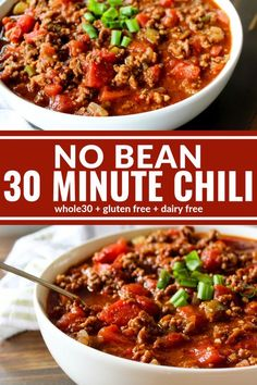 This No Bean 30 Minute Chili is hearty comfort food at it's best! Thick, hearty, and a family favorite. Plus it's compliant, dairy free, and gluten free! # no bean chili recipes No Bean 30 Minute Chili Beanless Chili Recipe, Keto Chili Recipe, Chilli Recipes, Paleo Recipes, Soup Recipes, Cooking Recipes, Shrimp Recipes, Whole 30 Chili Recipe, Deserts