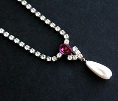 SALE - Vintage Rhinestone Y Necklace - Silver Tone Faux Pearl Costume Jewelry / Amethyst Purple by Maejean Vintage, $12.00