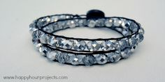 I've seen this project before, but not with black cording and crystals inside.  Love the bling!!!  bracelet3.1