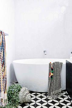 black and white floor tiles Photography by Derek Swalwell. Styling by Rachel Vigor.