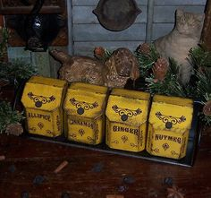 Primitive Vtg Style 4 Mustard Tins Cans Spice Rack Apothecary Cabinet Bin