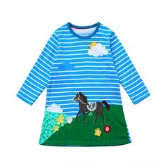 Toddler Baby Girl Kid Autumn Clothes Horse Print Embroidery Princess Party Dress