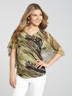 Safari Print V-Neck Top