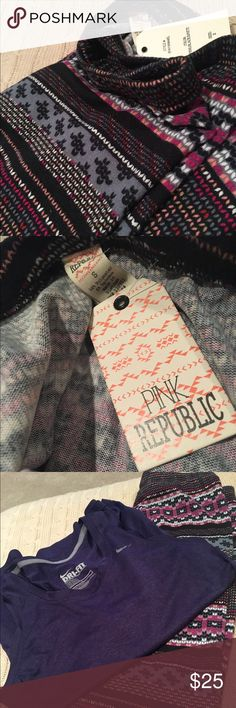 "Pink Republic tights (small) very cute ❤️ Colors black, gray, purple white and pink. Fabric is 94% poly and 6% spandex. They have stretch. Waist 22"" length inseam leg 28"". NWT's pink republic Pants Leggings"