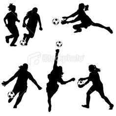 Women Soccer Goalie Silhouettes Royalty Free Stock Vector Art Illustration