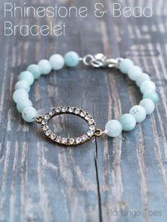 Rhinestone and Bead Bracelet Tutorial - this sweet bracelet is perfect for beginners!