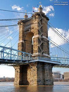 Roebling Bridge. Spans the Ohio River between Cincinnati, Ohio and Covington, Kentucky. Opened: December 1, 1866. Total length: 1,056' (322 m.) Bridge type: Suspension bridge. Architects: John A. Roebling, Washington Roebling. (Some info from Wikipedia.)