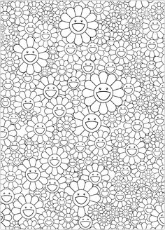 Coloring page inspired by a work by Japanese artist Takashi Murakami (style : Superflat). Free Adult Coloring, Adult Coloring Book Pages, Colouring Pages, Coloring Books, Superflat, Doodle Coloring, Mandala Coloring, Murakami Flower, Doodle Pages