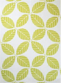 "My Place Kiwi - Braemore Fabric - Division of P. Kaufmann Fabric. 100% linen, geometric contemporary leaf print. Multi purpose home décor fabric. Repeat; H 13.5"" x V 25.25"". 54: wide"