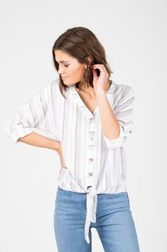 043b429c90a The Butler Striped Tie Front Blouse in White