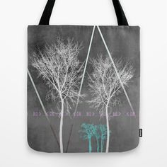TREES I Tote Bag by Pia Schneider [atelier COLOUR-VISION] #trees, #branches, #gray, #white #turquoise #modern #piaschneider #landscape #nature #collage #illustration #rose #ornament #bag #totebag #accessoires #fashion #shoppingbag #beachbag