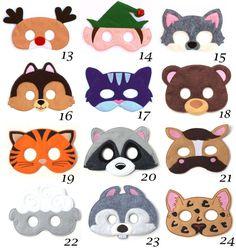 Pick Any 2 Kids Masks Kids Mask Felt Mask Kids Face Mask Animal Mask Halloween Costume Pretend Play Dress Up Party Favors Costume Animal Masks For Kids, Face Masks For Kids, Costume Halloween, Halloween Suits, The Mask Costume, Costume Dress, Felt Kids, Purple Cat, Felt Animals
