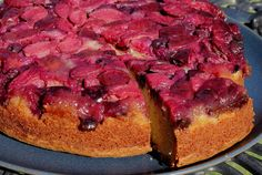 plum & blueberry upside down cake - gluten free - the most beautiful colour!
