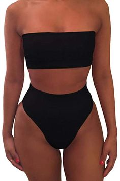 00689b0f66e Pink Queen Women's Removable Strap Wrap Pad Cheeky High Waist Bikini Set  Swimsuit