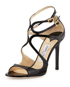 Lang Patent Strappy Sandal, Black by Jimmy Choo at Neiman Marcus.