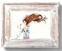 Hairdrying / Children watercolor by BarbaraSzepesiSzucs on Etsy, $25.00