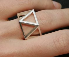 SKELETON - Sterling silver faceted modern geometric 3D printed ring. $170.00, via Etsy.