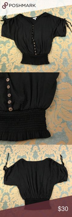 """Claudia Richard Black Top Claudia Richard Black Top Women's Size: S Very good condition! No flaws. Measurements lying flat: Shoulder to Shoulder 22"""", Armpit to Armpit 20"""", Sleeve's Length 10"""" (Adjustable), Length 23"""". Please, review pictures. You will get the item shown. Smoke & pet free home. Claudia Richard Tops Blouses"""