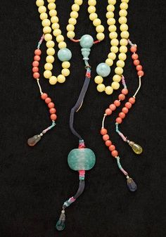 Antique Chinese glass and jadeite court necklace
