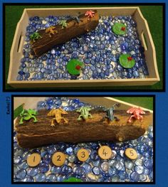 """Lots of numeracy kinda learning ideas 5 Little Speckled Frogs from Rachel ("""",) Frog Activities, Nursery Activities, Rhyming Activities, Toddler Activities, Preschool Activities, Toddler Fun, Toddler Crafts, Tuff Spot, Early Years Maths"""