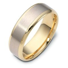18K Two-Tone Gold, 7MM Satin and Polished Wedding Band (sz 4-15) Gembrooke Creations. $879.00. Manufactured to your specifications and finger size. We never size a ring up or down to fit you.. Machined from a solid piece of gold for a stronger more durable ring.. Band is 2.25mm thick