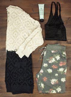 color block sweater + knit tank + sweatpants + travel + packing light + capsule wardrobe + flat lay + fall fashion + style