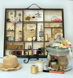 I made this combo of printers tray and memory jar for my mum. It contains treasured sewing items that used to belong to my grandma. Both are destined to be displayed on mum's old treadle sewing machine. Shadow Box Memory, Shadow Box Art, Shabby Chic Vintage, Vintage Sewing, Vintage Items, Altered Boxes, Altered Art, Marco Ikea, Paper Crafts