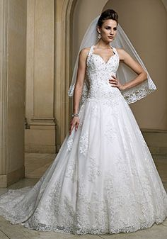 church princess halter Lace Draping chapel train wedding dress