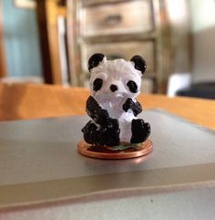 Miniature Panda Bear Figurine Black and White Hand Painted Metal Cast Vintage Collectible Knick Knack Diarama Dollhouse Zoo Animal by MarveltyVintage on Etsy