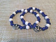 Nautical Anchor Stretchy Bracelet Navy and by EmpyreanByDamaris, $24.00