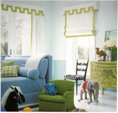 Custom valance and curtains, large scale green houndstooth pillow, vintage green armchair, vintage zebra print chair, cane print pillow.