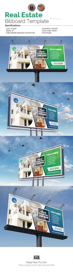 "Real Estate Billboard by aam360 Similar Templates:INFORMATIONS FOR THIS BILLBOARD:FEATURES:Size: 70""x30""Bleed: .5""Two Color Variations (Blue & Green)Fully editabl"