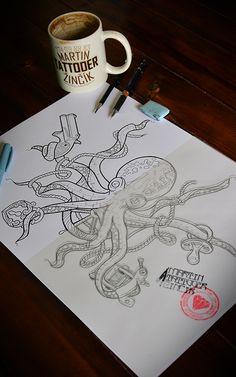 octopus tattoo neo traditional design , Czech tattoo artist, Martin Tattooer Zincik, Czech / Chrudim / Praha