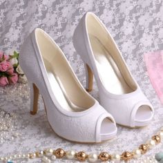 Lace Peep Toe High Heel Wedding Shoes with 10cm heel, choice of ivory or white MQW-13101