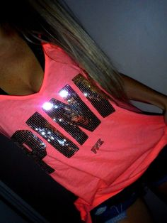 Pink by Victoria's Secret Neon Strappy Back Sequin Graphics Tank Top Tee L | eBay
