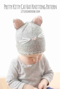 Fun Kitty Cat Hat Knitting Patterns Free and Paid Size Baby to Adult, Knit Cat Ear Hat; Cable Cat Hat, Cat White Whiskers Hat and Pattern Baby, Baby Hat Knitting Pattern, Baby Hat Patterns, Easy Knitting Patterns, Knitting Projects, Baby Knitting, Free Knitting, Sweater Patterns, Knitting Ideas