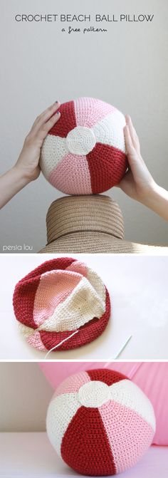 Beach Ball Crochet Pillow - Free Pattern ༺✿ƬⱤღ  https://www.pinterest.com/teretegui/✿༻