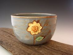 Rustic Sunflower Bowl in Country Blue - Pottery Bowl - by DirtKicker Pottery. $25.00, via Etsy.