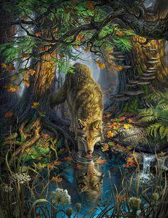 Wonderfull and sooo beautiful Wolf Art painting Artwork Lobo, Wolf Artwork, Wolf Love, Anime Wolf, Beautiful Wolves, Animals Beautiful, Wolf Painting, Fantasy Wolf, Wolf Spirit Animal