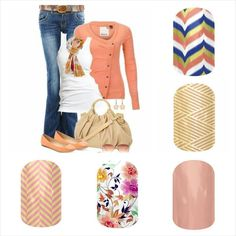 Jamberry Nails - Just Peachy, Sunday Brunch, Rose Gold, Gold Crisscross (Retired), Soiree. Kathy's Kickin Jamberry Facebook Group:  https://www.facebook.com/groups/kathyjo89jamberry