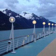 Lights line the deck on Rhapsody of the Seas. #alaska