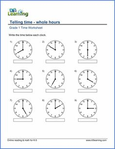 grade  telling time worksheet on telling time  minute intervals  grade  telling time worksheet on whole hours st grade math worksheets  nd grade math