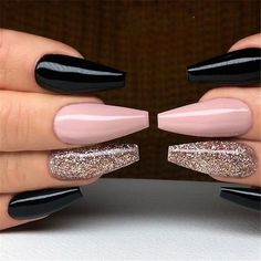 20 Black and White Acrylic Coffin Nails Ideas - Harry - BestBLo .- 20 Black and White Acrylic Coffin Nails Ideas – Harry – # Acrylic Coffin Nails Ideas - Coffin Nails Glitter, Black Coffin Nails, Black Acrylic Nails, Stiletto Nail Art, Best Acrylic Nails, Gold Nails, Pink Nails, Coffin Acrylics, Black Chrome Nails