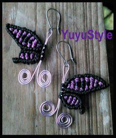 Yuyu Style _ Macramé y más: Pendientes: Mariposas de macramé