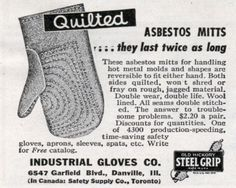 Quilted Asbestos Mitts Only $2.20!