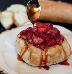 Baked Brie with Roasted Strawberries and Red Tea Sauce