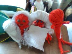Yarn Doll Family; Husband, Wife, Baby & Brother