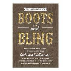 Boots and Bling   Glitter-Look Bachelorette Party Card