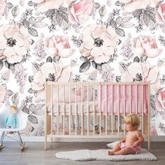 Removable Peel 'n Stick Wallpaper, Self-Adhesive Wall Mural, Watercolor Pink Floral Pattern, Nursery Room Decor Floral Bedroom, Floral Nursery, Boho Nursery, Nursery Room Decor, Nursery Floral Wallpaper, Baby Girl Nursery Wallpaper, Bedroom Wallpaper, Wall Wallpaper, Kindergarten Wallpaper