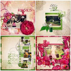 Digital Scrapbook Kit Garden flowers pink and by creativeqube, $4,90